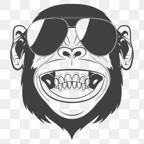Laughing Orangutan - Chimpanzee Monkey Headphones Clip Art PNG