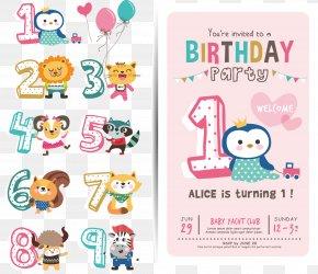 Vector Cartoon Figures Birthday Celebration PNG