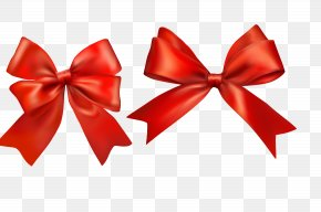 Festive Red Bow - Paper Ribbon Gift Wrapping Bow And Arrow PNG