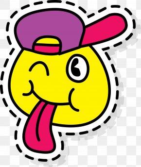 Cartoon Tongue Sticker - Paper Cartoon Clip Art PNG