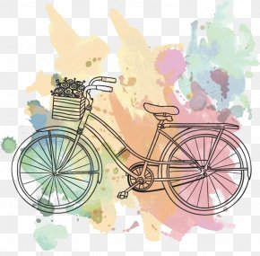 Retro Summer Background Pixers - Bicycle Tires Vector Graphics Mountain Bike Drawing PNG