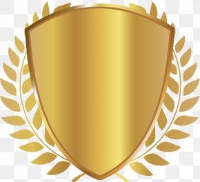 Golden Shield Badge - Business Financial Adviser Award Laurel Wreath PNG