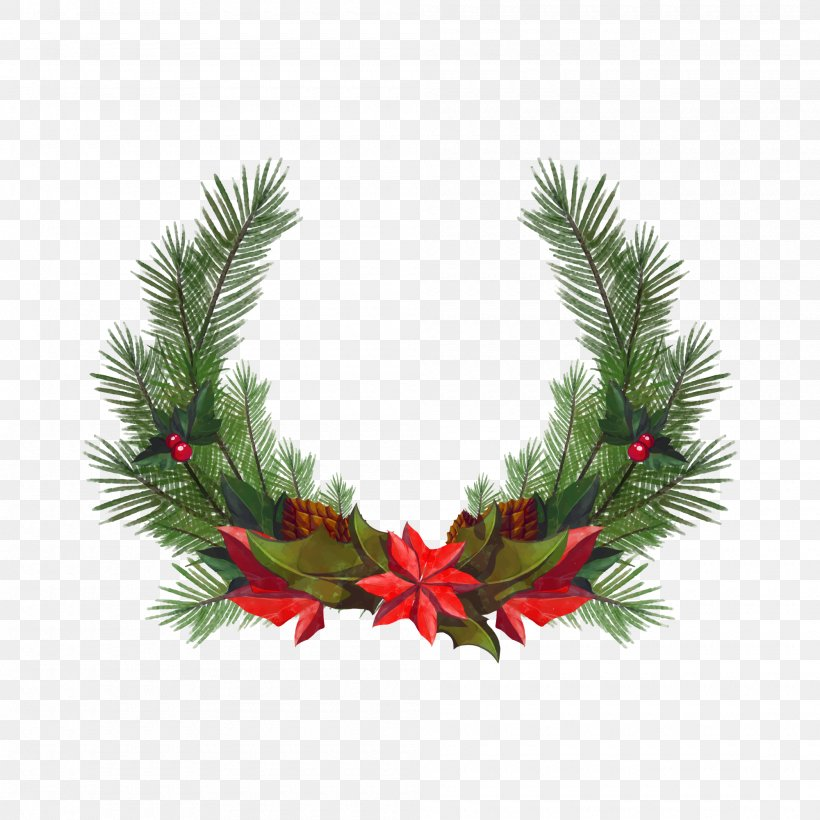 Christmas Wreath Santa Claus Euclidean Vector, PNG, 2000x2000px, Christmas, Branch, Christmas Decoration, Christmas Ornament, Conifer Download Free