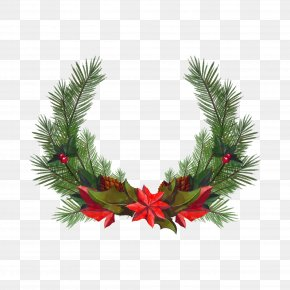 Vector Christmas Wreath - Christmas Wreath Santa Claus Euclidean Vector PNG