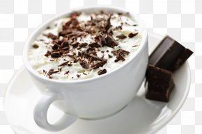 White Ceramic Cup Of Hot Cocoa Chocolate Chips - Hot Chocolate Cream Caffxe8 Mocha Milk PNG