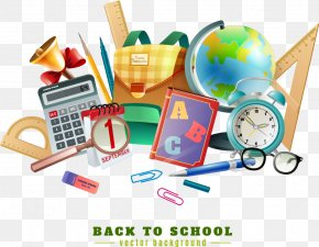 Vector School Supplies And Chalkboard - Poster Stationery Illustration PNG