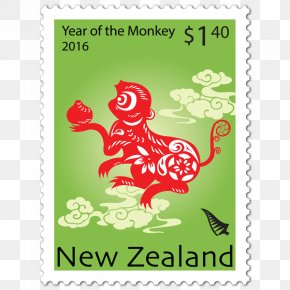 Chinese New Year - Postage Stamps Chinese New Year Chinese Zodiac Mail Golden Monkey Stamp PNG
