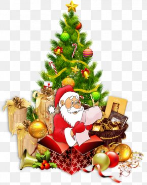 Cartoon Santa Claus And Christmas Tree - Santa Claus Christmas Tree Christmas Decoration Clip Art PNG