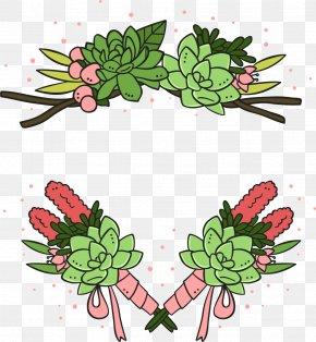 Vector Hand-drawn Bridal Bouquet - Cactaceae Euclidean Vector Plant Wedding PNG