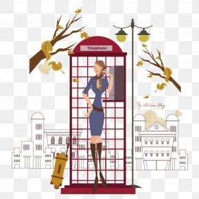 Public Telephone Urban Women Vector - Payphone Telephone Booth Euclidean Vector Illustration PNG