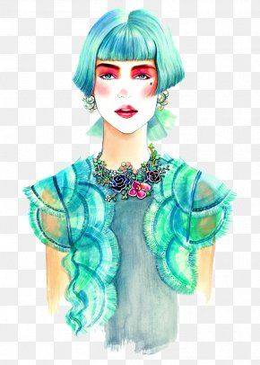 Hand-painted Blue Hair Female - Chanel Fashion Drawing Illustrator Illustration PNG