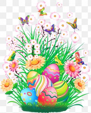 Transparent Easter Decor With Eggs And Grass Clipart Picture - Easter Bunny Easter Egg Easter Basket Clip Art PNG