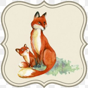 Watercolor Animal - Infant Drawing Mother Fox Watercolor Painting PNG