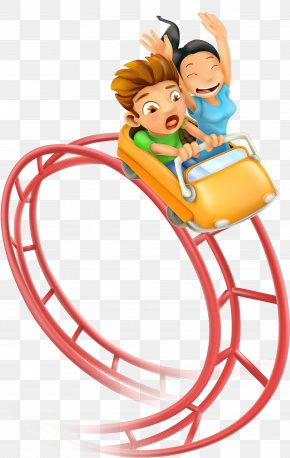 Vector Cartoon Cute Children Creative Roller Coaster - Roller Coaster Amusement Park Clip Art PNG