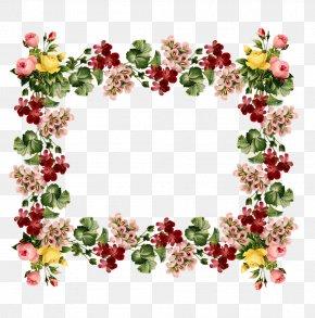 Flower Garland - Paper Flower Retro Style Floral Design Clip Art PNG