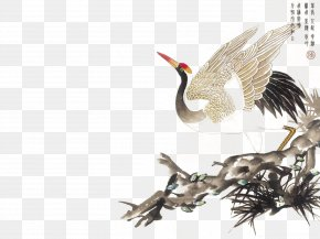 RedCrowned Crane Flying Ink Painting - China Chinese Painting Qigong Printmaking Traditional Chinese Medicine PNG