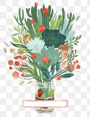 Vase Plant - Drawing Printmaking Art Watercolor Painting Illustration PNG