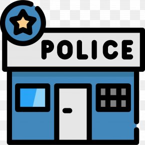 Cartoon Flattened Police Station Icon - Wedding Invitation Police Station Police Officer Clip Art PNG