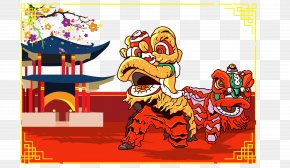 Vector Lion - Lion Dance Mid-Autumn Festival Chinese New Year PNG
