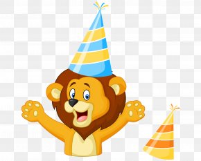 Hand-painted Cartoon Lion Birthday Cheer Color Hat PNG