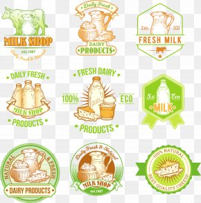 Vector Hand-painted Dairy Labels - Milk Label Dairy Product Illustration PNG