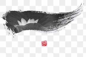 Black And White Lotus Seal - Black And White Ink Wash Painting PNG