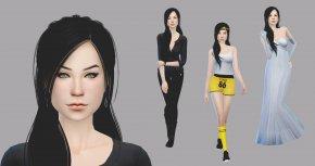 Sims - Human Hair Color Black Hair Hairstyle Long Hair Brown Hair PNG