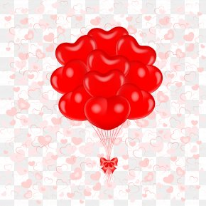 Red Heart Balloon - Balloon Heart Valentine's Day Clip Art PNG