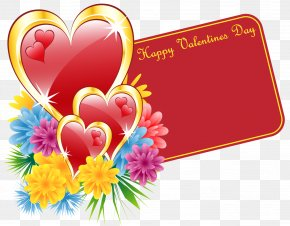 Valentine Card With Hearts And Flowers - Birthday Wish Valentine's Day Friendship Husband PNG