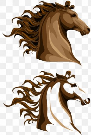 Brown Horse Head Horse Mane - Horse Mane Illustration PNG