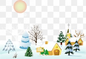 Vector Elements Christmas Town - Snow Winter Clip Art PNG