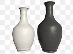Two Black And White Bottles - Vase Black And White 3D Computer Graphics PNG