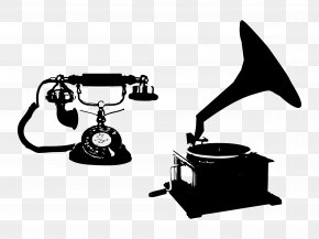 Vintage Phonograph And Telephone - Phonograph Clip Art PNG