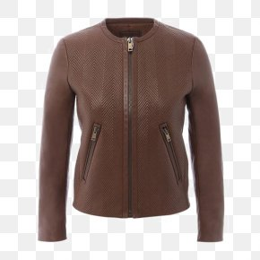 Ms. Long-sleeved Round Neck Zipper Design Leather - Sweater Zipper Flight Jacket Fashion Leather Jacket PNG