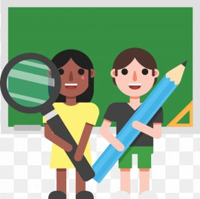 Students Holding A Magnifying Glass - Magnifying Glass Clip Art PNG