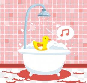 Pink Cute Bathtub Vector - Bathtub Bathing Foam PNG