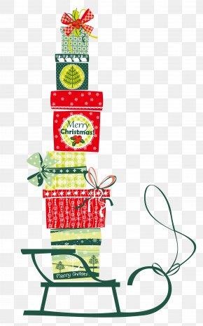 Sleigh On The Christmas Gift Box Vector PNG