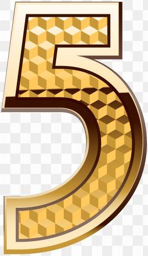 Gold Number Five Clip Art Image - Number Numerical Digit Clip Art PNG