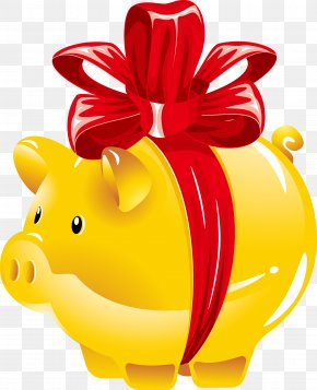 Vector Gift Of The Golden Pig - Domestic Pig Piggy Bank Clip Art PNG
