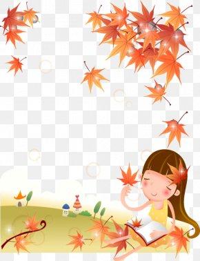Cute Kids Cartoon Maple Leaves - Drawing Cartoon Illustration PNG