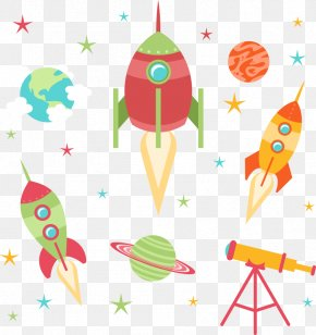 Vector Cartoon Rocket And Earth - Rocket Cartoon PNG
