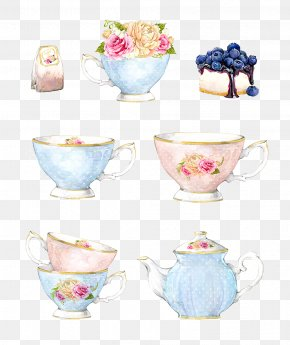 Vector Decorative Hand-painted Watercolor Background - Coffee Cup Porcelain Vase Saucer PNG