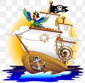Pirate Ship - Parrot Piracy Cartoon Illustration PNG