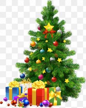 Christmas - Christmas Tree Gift Clip Art PNG