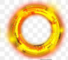 Yellow Ring Light Effect Element - Light Circle Yellow PNG