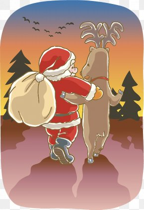 Santa Claus Elk Cartoon Illustration - Santa Claus Reindeer Painting Photography Illustration PNG