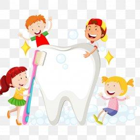 Children Brush Their Teeth PNG