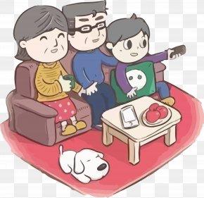 Hand Painted A Family Of Three Watching TV Vector - WeChat Red Envelope WeChat Red Envelope Oudejaarsdag Van De Maankalender Requirements Analysis PNG