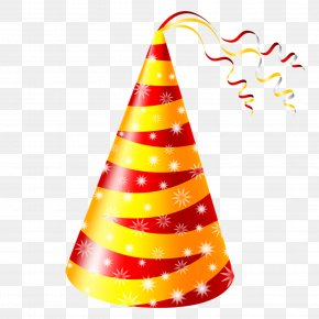 Red And Yellow Birthday Hat - Birthday Cake Party Hat Clip Art PNG
