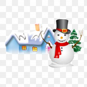 Housing And Snowman On Snow - Snowman Winter Snowflake PNG